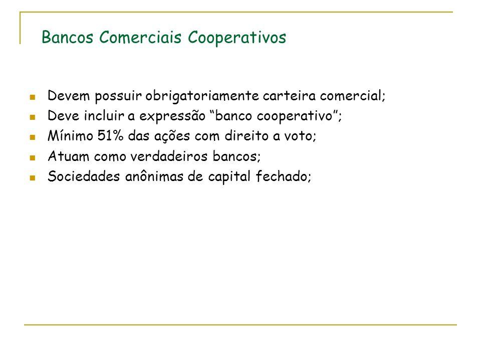 Bancos Comerciais Cooperativos Devem possuir obrigatoriamente carteira comercial; Deve incluir a expressão banco cooperativo; Mínimo 51% das ações com direito a voto; Atuam como verdadeiros bancos; Sociedades anônimas de capital fechado;