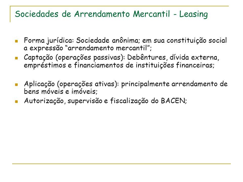 Sociedades de Arrendamento Mercantil - Leasing Forma jurídica: Sociedade anônima; em sua constituição social a expressão arrendamento mercantil; Capta