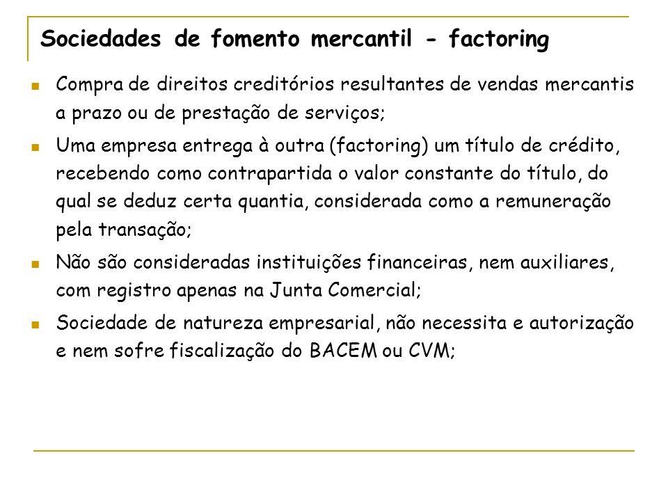 Sociedades de fomento mercantil - factoring Compra de direitos creditórios resultantes de vendas mercantis a prazo ou de prestação de serviços; Uma em