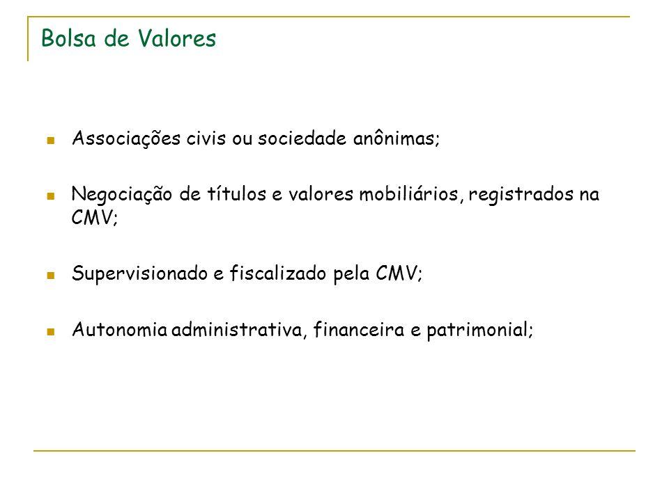 Bolsa de Valores Associações civis ou sociedade anônimas; Negociação de títulos e valores mobiliários, registrados na CMV; Supervisionado e fiscalizado pela CMV; Autonomia administrativa, financeira e patrimonial;