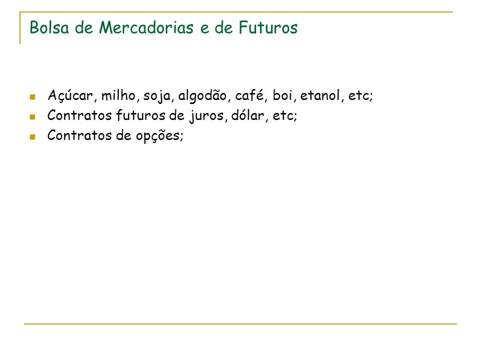 Bolsa de Mercadorias e de Futuros Açúcar, milho, soja, algodão, café, boi, etanol, etc; Contratos futuros de juros, dólar, etc; Contratos de opções;