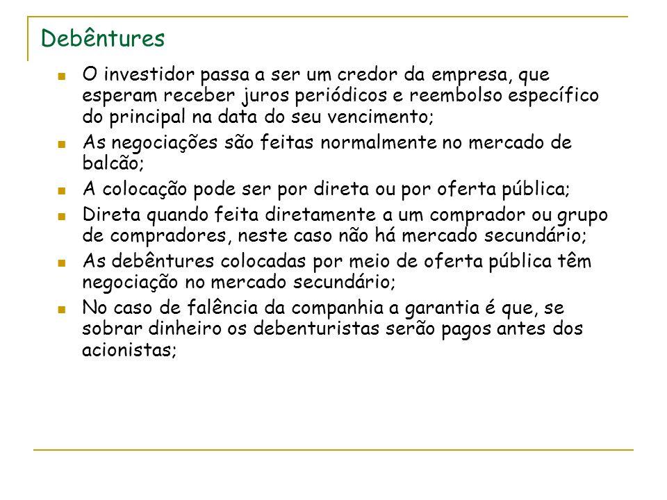 Debêntures O investidor passa a ser um credor da empresa, que esperam receber juros periódicos e reembolso específico do principal na data do seu vencimento; As negociações são feitas normalmente no mercado de balcão; A colocação pode ser por direta ou por oferta pública; Direta quando feita diretamente a um comprador ou grupo de compradores, neste caso não há mercado secundário; As debêntures colocadas por meio de oferta pública têm negociação no mercado secundário; No caso de falência da companhia a garantia é que, se sobrar dinheiro os debenturistas serão pagos antes dos acionistas;