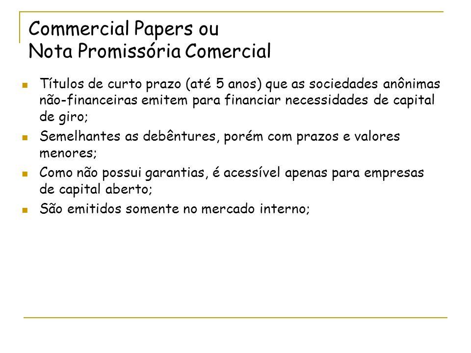 Commercial Papers ou Nota Promissória Comercial Títulos de curto prazo (até 5 anos) que as sociedades anônimas não-financeiras emitem para financiar n