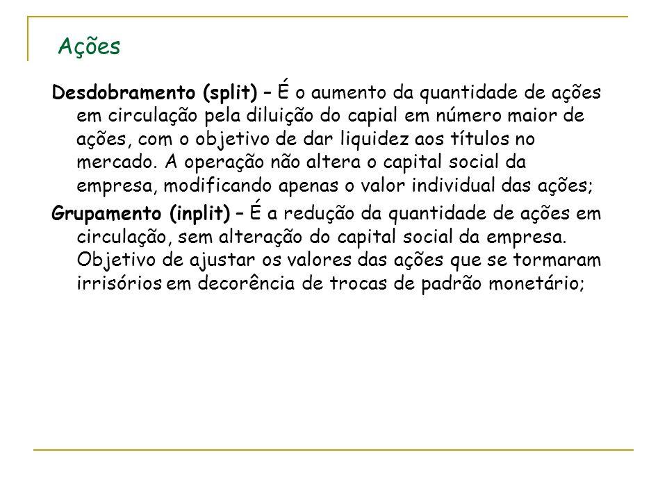 Ações Desdobramento (split) – É o aumento da quantidade de ações em circulação pela diluição do capial em número maior de ações, com o objetivo de dar