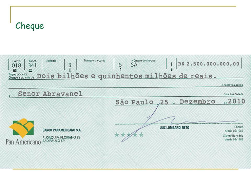 Requisitos essenciais Ordem de pagamento à vista; A denominação cheque; A ordem incondicional de pagar: pague-se; O nome do banco ou instituição: nome do sacado; Assinatura do emitente (sacador);