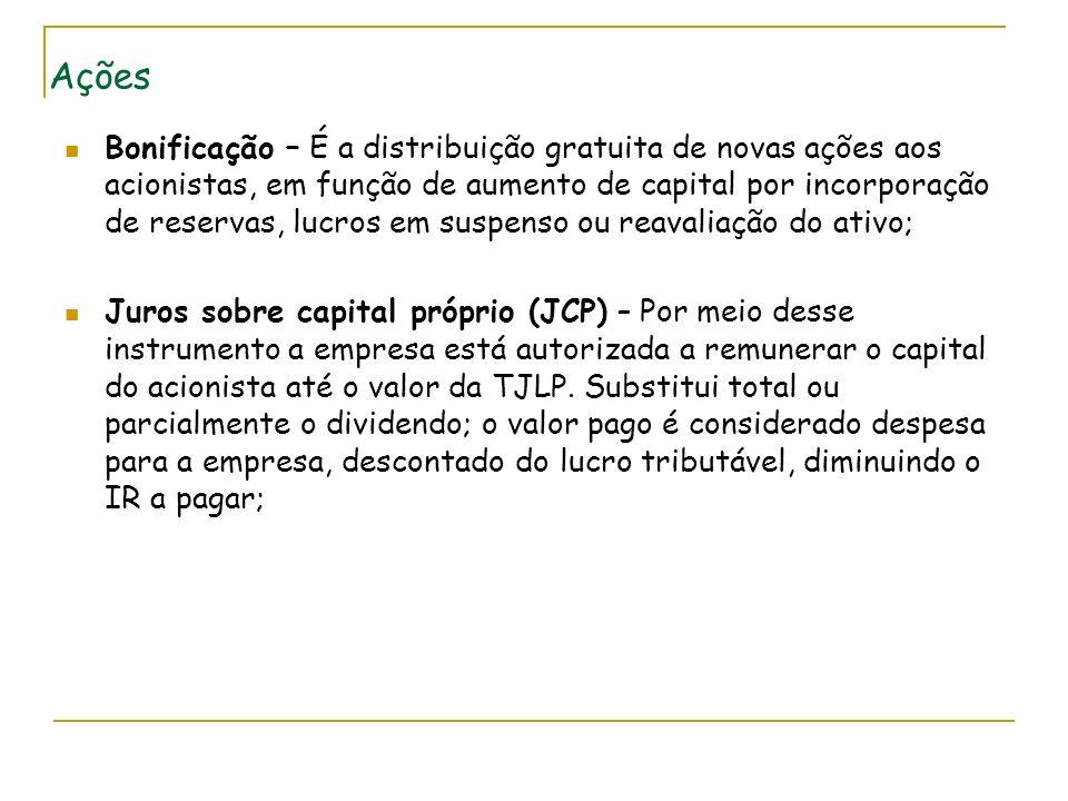 Ações Bonificação – É a distribuição gratuita de novas ações aos acionistas, em função de aumento de capital por incorporação de reservas, lucros em s