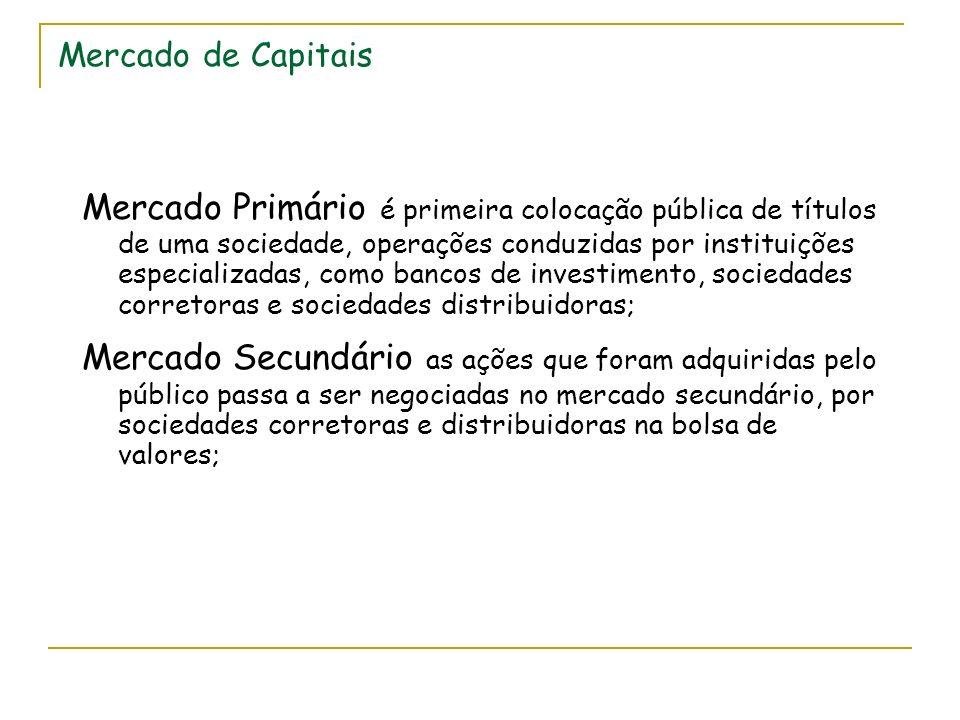 Mercado de Capitais Mercado Primário é primeira colocação pública de títulos de uma sociedade, operações conduzidas por instituições especializadas, c