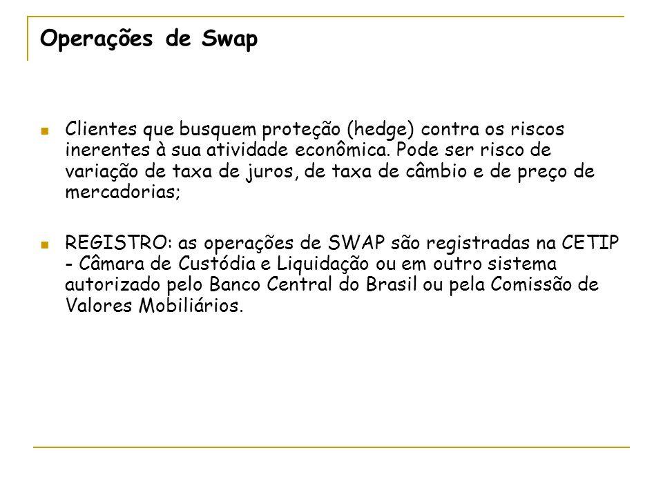 Operações de Swap Clientes que busquem proteção (hedge) contra os riscos inerentes à sua atividade econômica. Pode ser risco de variação de taxa de ju