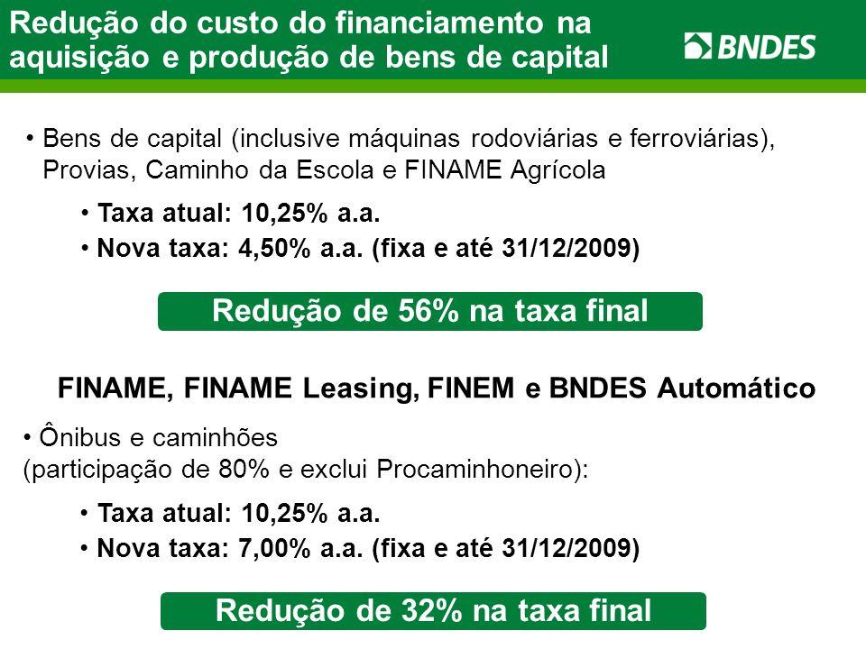 Redução do custo do financiamento na aquisição e produção de bens de capital Taxa atual: 10,25% a.a. Nova taxa: 7,00% a.a. (fixa e até 31/12/2009) FIN