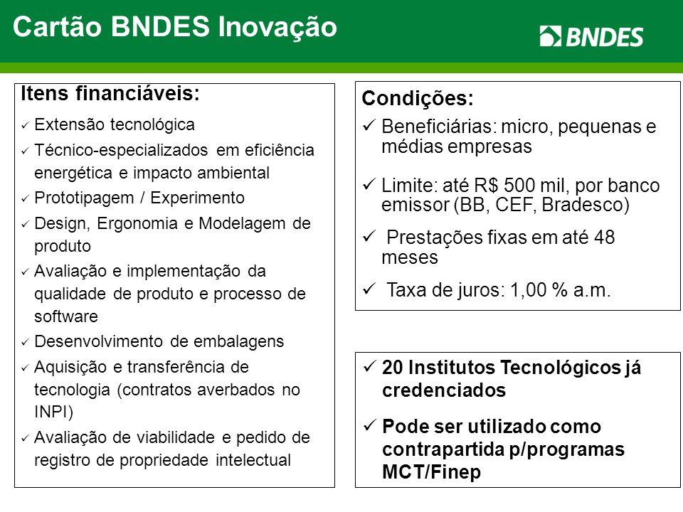 Condições: Beneficiárias: micro, pequenas e médias empresas Limite: até R$ 500 mil, por banco emissor (BB, CEF, Bradesco) Prestações fixas em até 48 m
