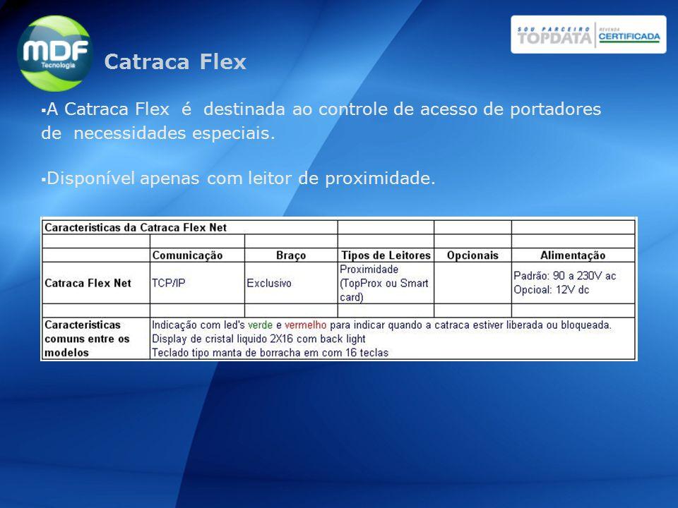 A Catraca Flex é destinada ao controle de acesso de portadores de necessidades especiais. Disponível apenas com leitor de proximidade. Catraca Flex