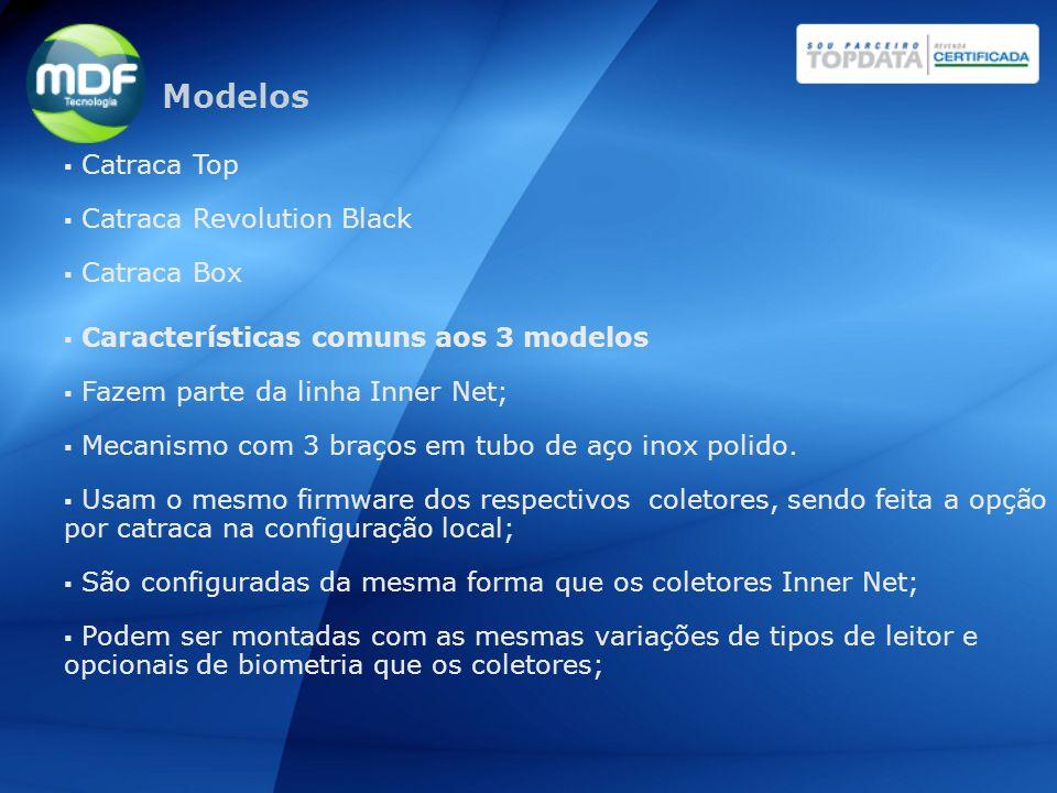 Catraca Top Catraca Revolution Black Catraca Box Características comuns aos 3 modelos Fazem parte da linha Inner Net; Mecanismo com 3 braços em tubo d