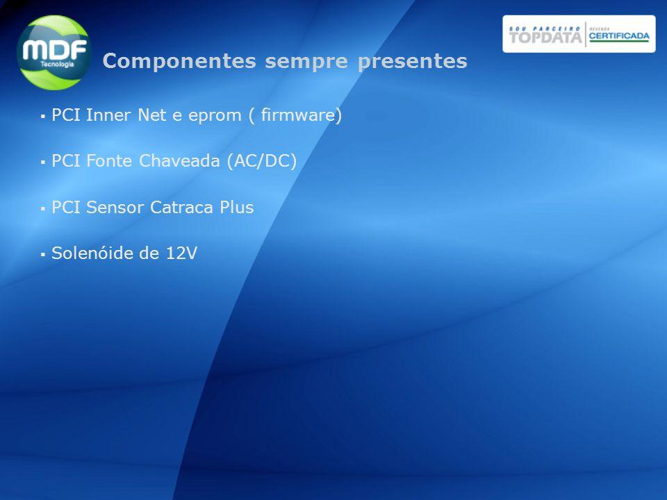 PCI Inner Net e eprom ( firmware) PCI Fonte Chaveada (AC/DC) PCI Sensor Catraca Plus Solenóide de 12V Componentes sempre presentes