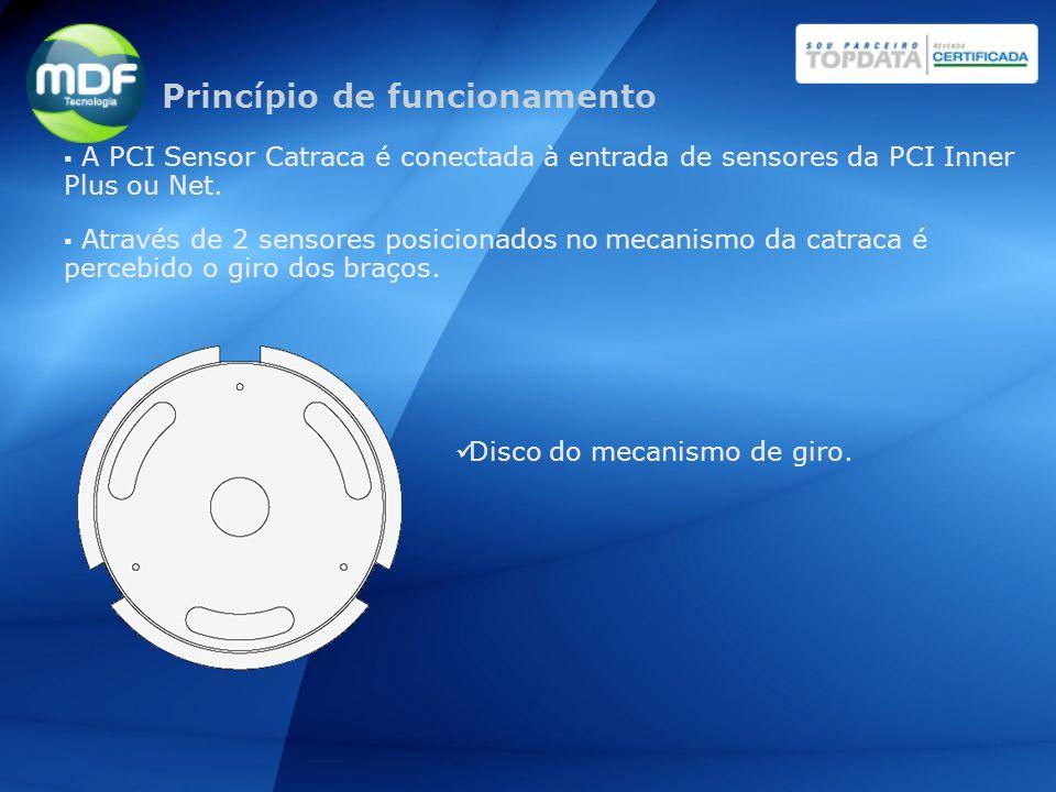 A PCI Sensor Catraca é conectada à entrada de sensores da PCI Inner Plus ou Net. Através de 2 sensores posicionados no mecanismo da catraca é percebid