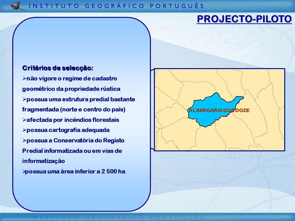 PROJECTO-PILOTO ALBERGARIA DOS DOZE Critérios de selecção: não vigore o regime de cadastro geométrico da propriedade rústica possua uma estrutura pred