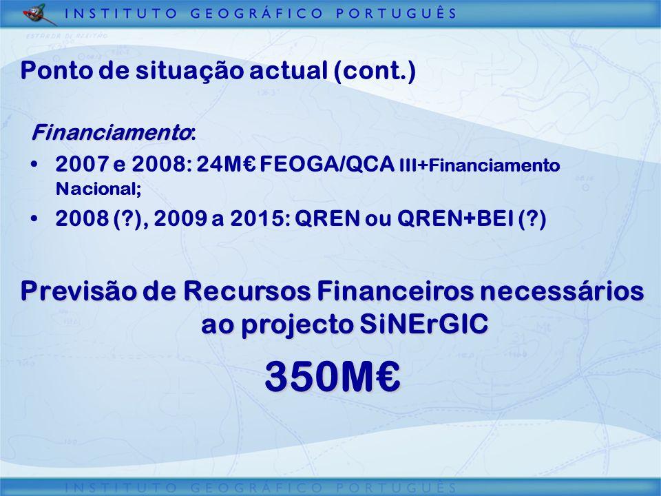 Ponto de situação actual (cont.) Financiamento: 2007 e 2008: 24M FEOGA/QCA III+Financiamento Nacional; 2008 (?), 2009 a 2015: QREN ou QREN+BEI (?) Pre