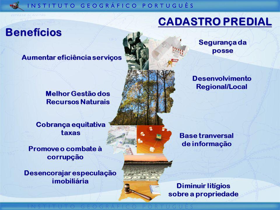 CADASTRO PREDIAL Benefícios Segurança da posse Desenvolvimento Regional/Local Desencorajar especulação imobiliária Melhor Gestão dos Recursos Naturais