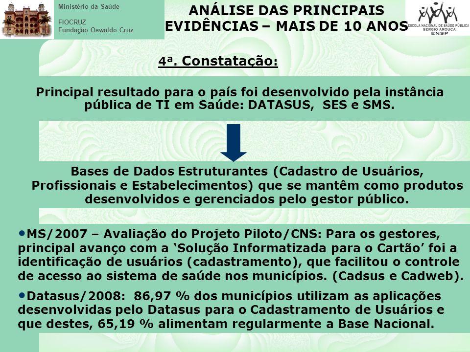 Ministério da Saúde FIOCRUZ Fundação Oswaldo Cruz MS/2007 – Avaliação do Projeto Piloto/CNS: Para os gestores, principal avanço com a Solução Informatizada para o Cartão foi a identificação de usuários (cadastramento), que facilitou o controle de acesso ao sistema de saúde nos municípios.