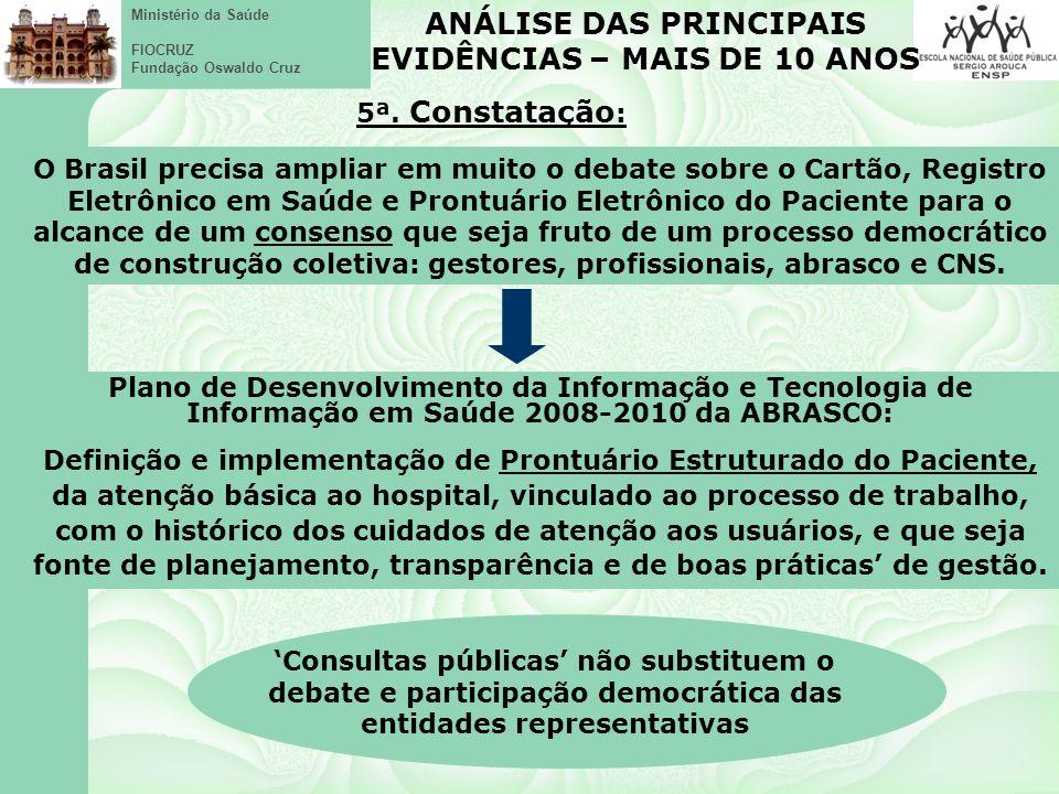 Ministério da Saúde FIOCRUZ Fundação Oswaldo Cruz O Brasil precisa ampliar em muito o debate sobre o Cartão, Registro Eletrônico em Saúde e Prontuário Eletrônico do Paciente para o alcance de um consenso que seja fruto de um processo democrático de construção coletiva: gestores, profissionais, abrasco e CNS.