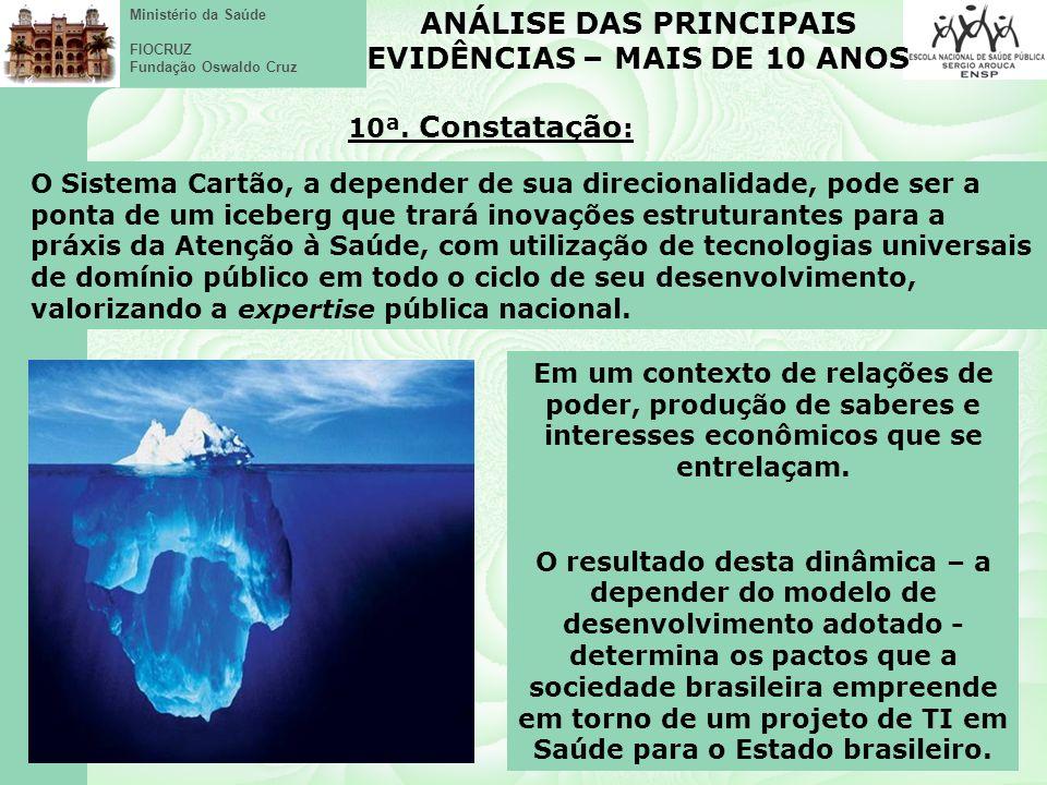 Ministério da Saúde FIOCRUZ Fundação Oswaldo Cruz ANÁLISE DAS PRINCIPAIS EVIDÊNCIAS – MAIS DE 10 ANOS 10ª.