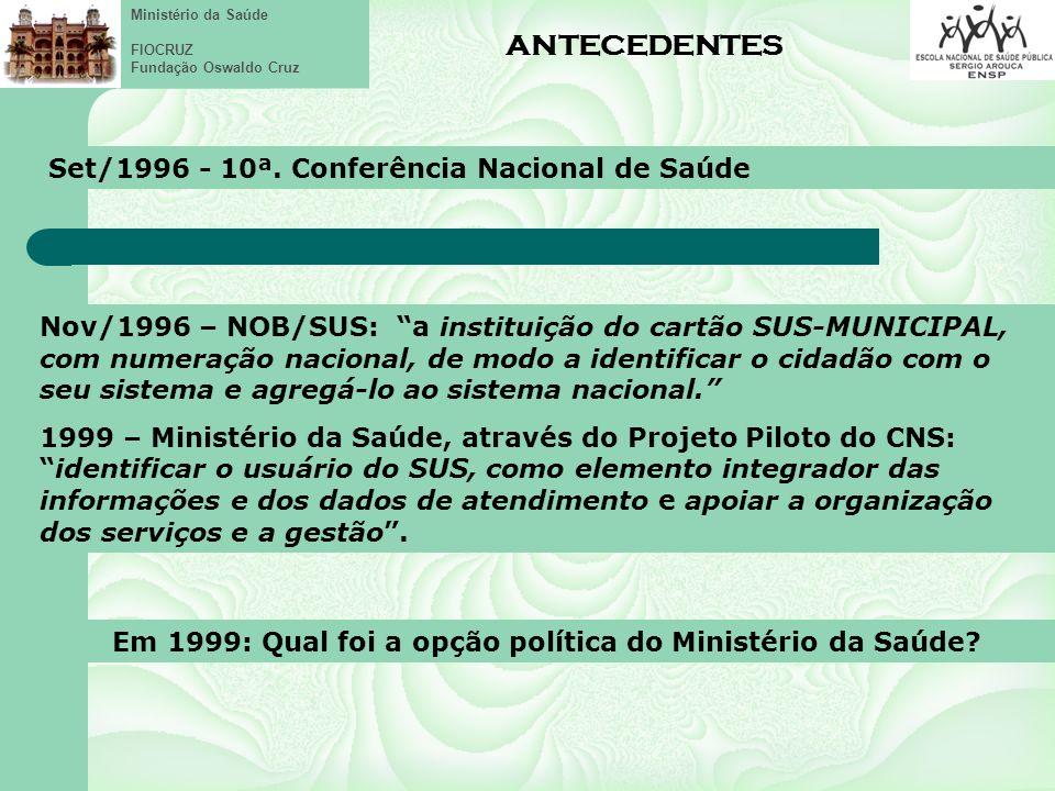 Ministério da Saúde FIOCRUZ Fundação Oswaldo Cruz Cartão / Registro/ Prontuário Eletrônico – população brasileira