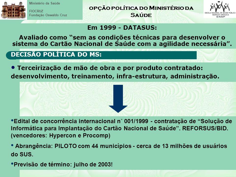 Ministério da Saúde FIOCRUZ Fundação Oswaldo Cruz opção política do Ministério da Saúde Em 1999 - DATASUS: Avaliado como sem as condições técnicas para desenvolver o sistema do Cartão Nacional de Saúde com a agilidade necessária.