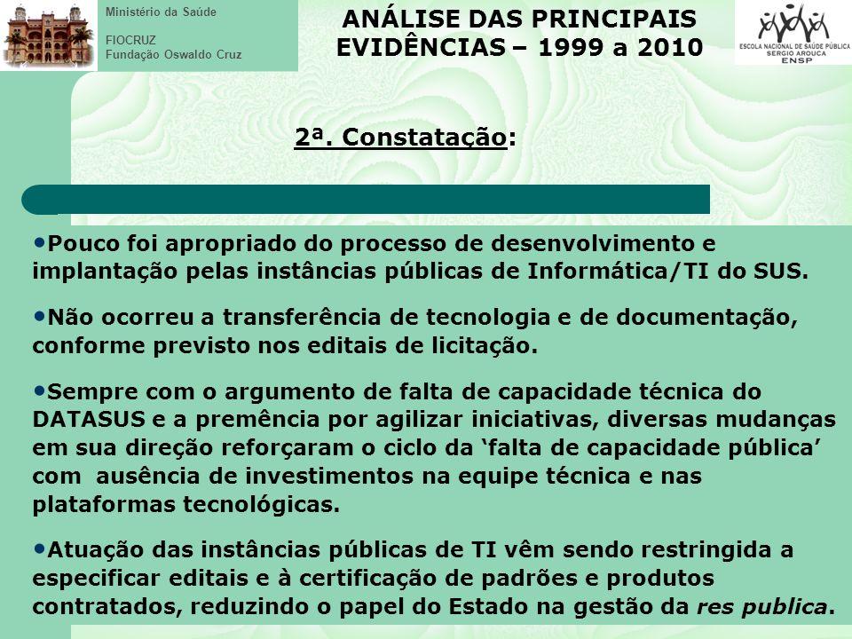 Ministério da Saúde FIOCRUZ Fundação Oswaldo Cruz Pouco foi apropriado do processo de desenvolvimento e implantação pelas instâncias públicas de Informática/TI do SUS.
