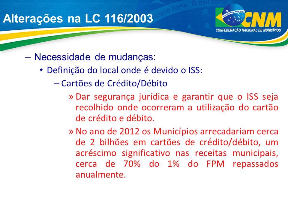 Alterações na LC 116/2003 Se somarmos os valores que corresponderiam ao ISS dos últimos quatro anos (2009 a 2012), conforme dados abaixo, teremos cerca de R$ 5,254 Bilhões.