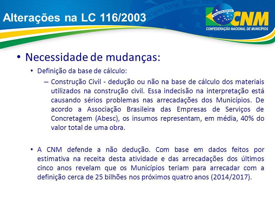 Necessidade de mudanças: Definição da base de cálculo: – Construção Civil - dedução ou não na base de cálculo dos materiais utilizados na construção civil.