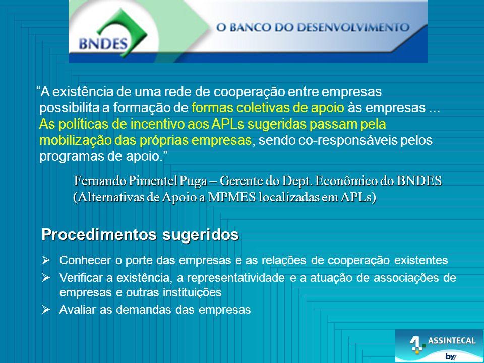 Procedimentos sugeridos Fernando Pimentel Puga – Gerente do Dept. Econômico do BNDES (Alternativas de Apoio a MPMES localizadas em APLs) Fernando Pime