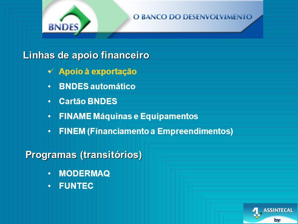 Linhas de apoio financeiro Programas (transitórios) Apoio à exportação BNDES automático Cartão BNDES FINAME Máquinas e Equipamentos FINEM (Financiamento a Empreendimentos) MODERMAQ FUNTEC Apoio à exportação