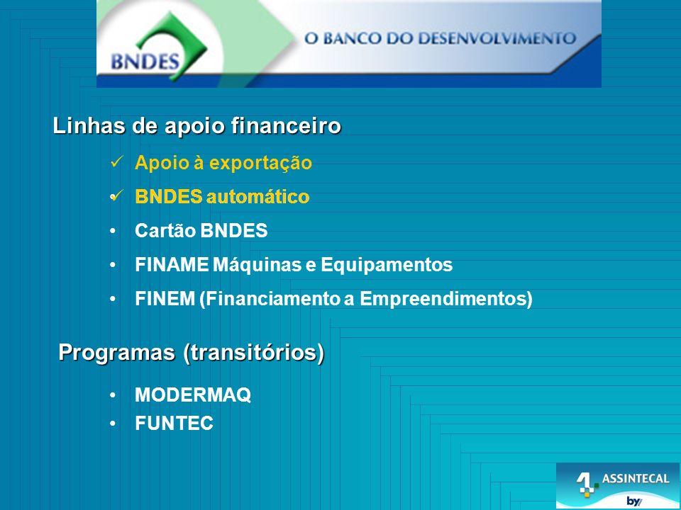 BNDES automático Linhas de apoio financeiro Programas (transitórios) BNDES automático Cartão BNDES FINAME Máquinas e Equipamentos FINEM (Financiamento