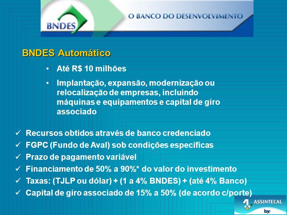 BNDES Automático Até R$ 10 milhões Implantação, expansão, modernização ou relocalização de empresas, incluindo máquinas e equipamentos e capital de giro associado Recursos obtidos através de banco credenciado FGPC (Fundo de Aval) sob condições específicas Prazo de pagamento variável Financiamento de 50% a 90%* do valor do investimento Taxas: (TJLP ou dólar) + (1 a 4% BNDES) + (até 4% Banco) Capital de giro associado de 15% a 50% (de acordo c/porte)