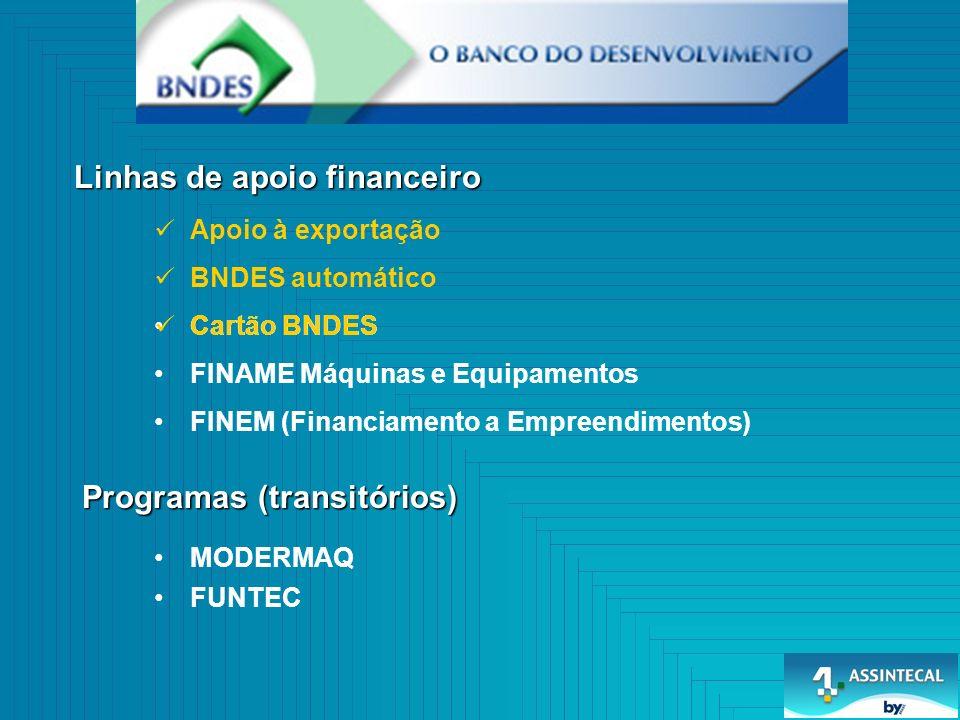 BNDES automático Linhas de apoio financeiro Programas (transitórios) Cartão BNDES FINAME Máquinas e Equipamentos FINEM (Financiamento a Empreendimentos) MODERMAQ FUNTEC Apoio à exportação Cartão BNDES