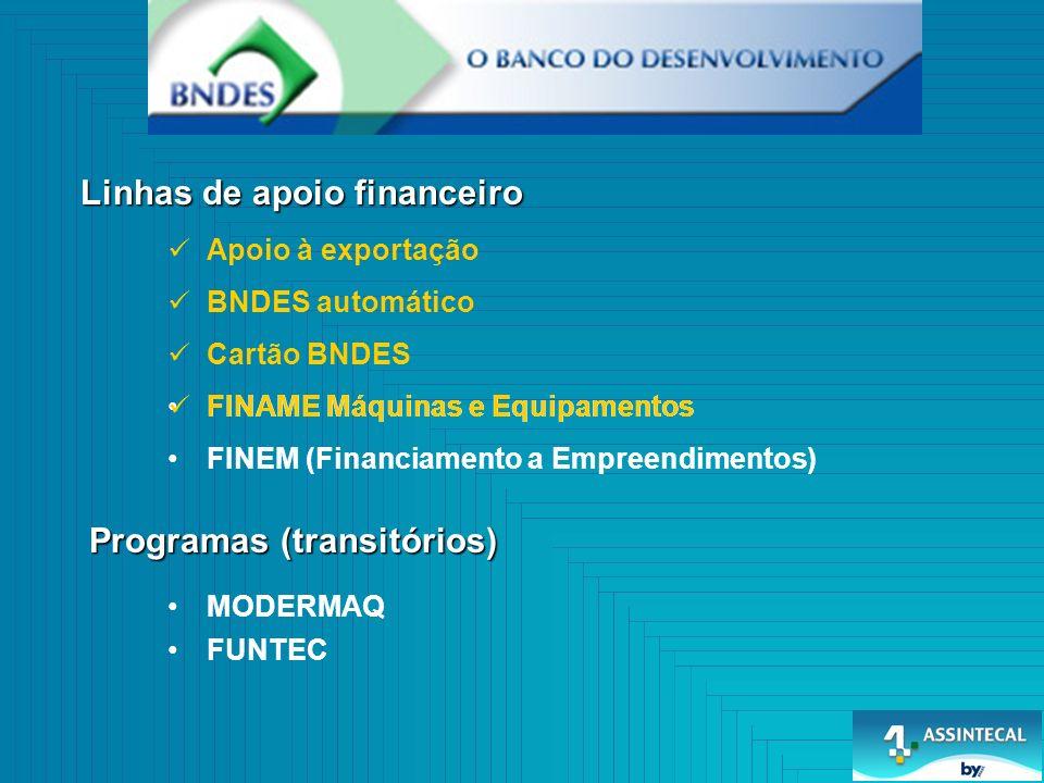 Cartão BNDES BNDES automático Linhas de apoio financeiro Programas (transitórios) FINAME Máquinas e Equipamentos FINEM (Financiamento a Empreendimentos) MODERMAQ FUNTEC Apoio à exportação FINAME Máquinas e Equipamentos