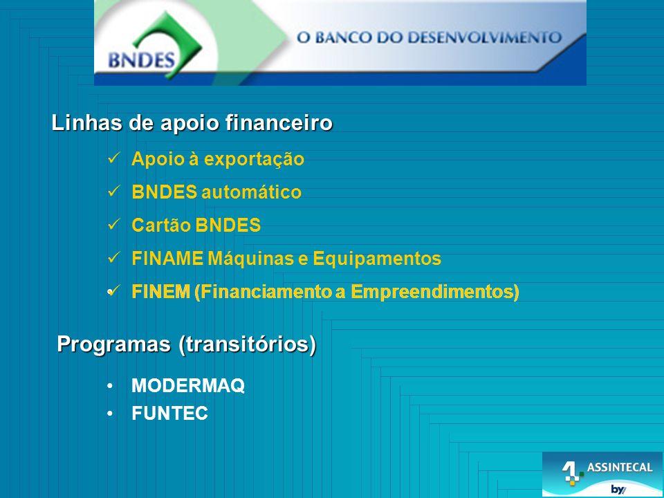 FINAME Máquinas e Equipamentos Cartão BNDES BNDES automático Linhas de apoio financeiro Programas (transitórios) FINEM (Financiamento a Empreendimento