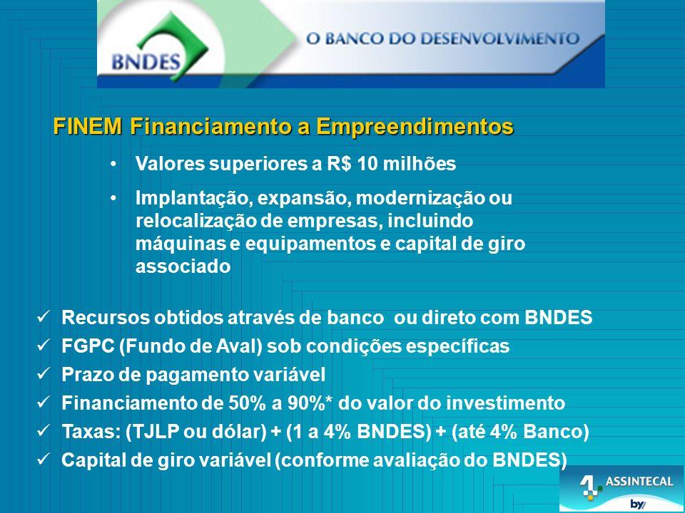FINEM Financiamento a Empreendimentos Valores superiores a R$ 10 milhões Implantação, expansão, modernização ou relocalização de empresas, incluindo máquinas e equipamentos e capital de giro associado Recursos obtidos através de banco ou direto com BNDES FGPC (Fundo de Aval) sob condições específicas Prazo de pagamento variável Financiamento de 50% a 90%* do valor do investimento Taxas: (TJLP ou dólar) + (1 a 4% BNDES) + (até 4% Banco) Capital de giro variável (conforme avaliação do BNDES)