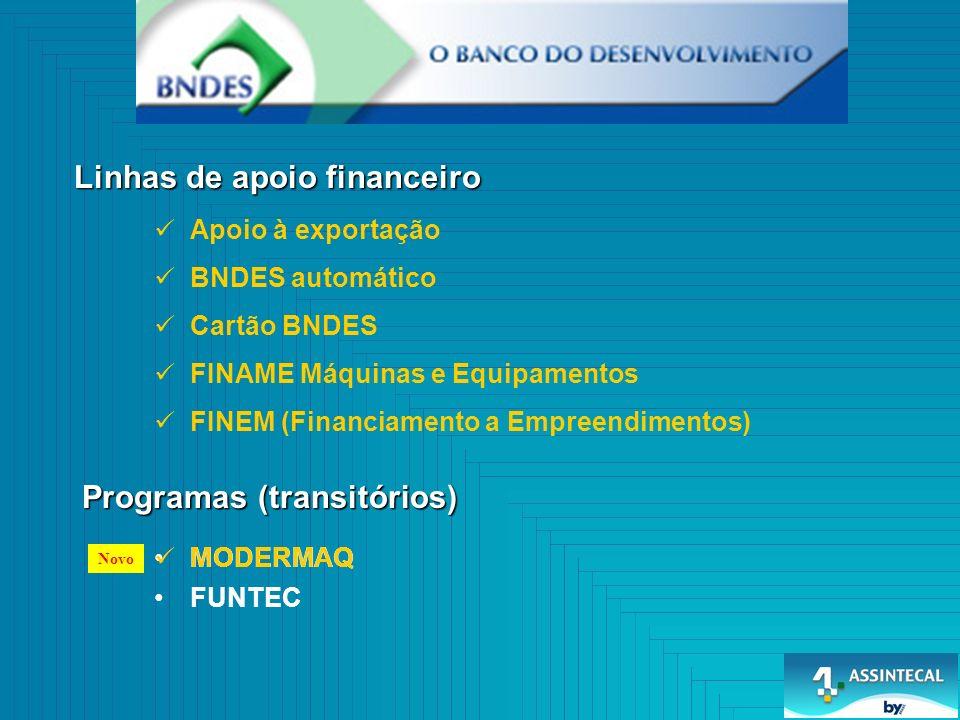 FINEM (Financiamento a Empreendimentos) FINAME Máquinas e Equipamentos Cartão BNDES BNDES automático Linhas de apoio financeiro Programas (transitórios) MODERMAQ FUNTEC Apoio à exportação MODERMAQ Novo