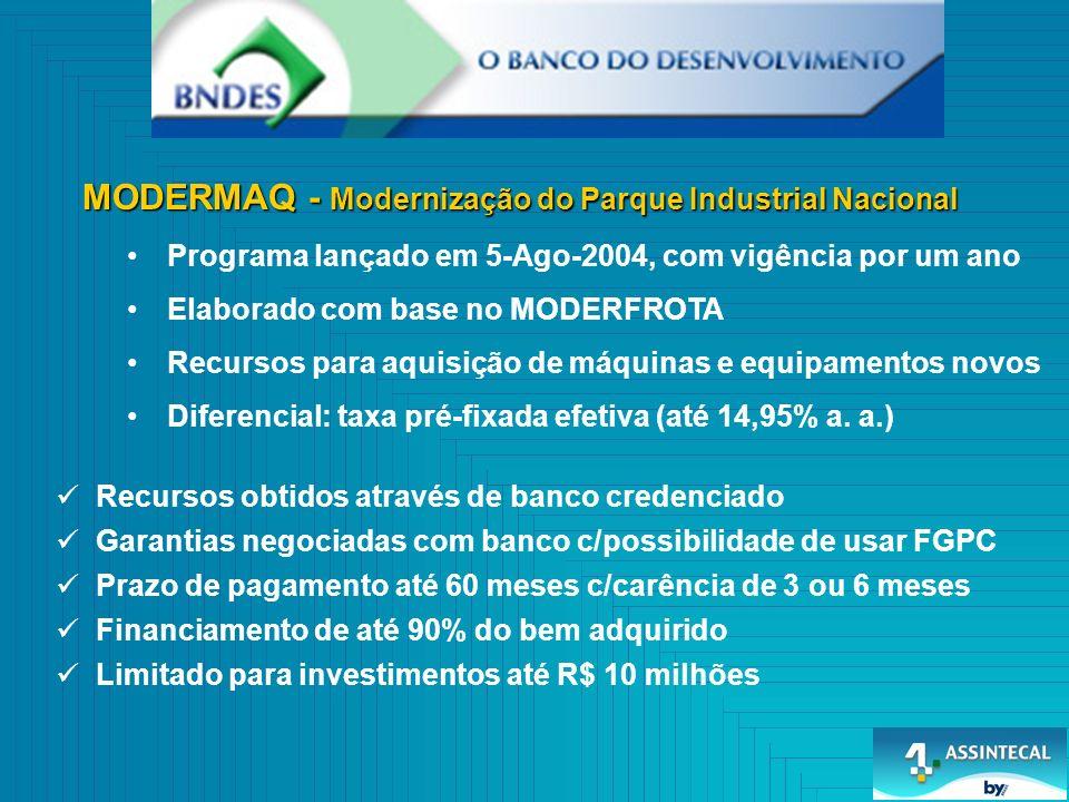 MODERMAQ - Modernização do Parque Industrial Nacional Programa lançado em 5-Ago-2004, com vigência por um ano Elaborado com base no MODERFROTA Recurso