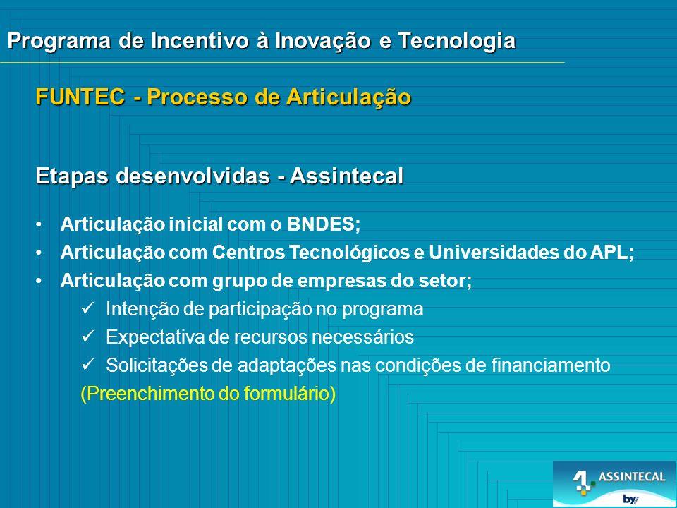 FUNTEC - Processo de Articulação Articulação inicial com o BNDES; Articulação com Centros Tecnológicos e Universidades do APL; Articulação com grupo d