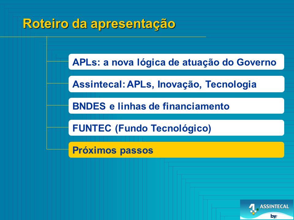 APLs: a nova lógica de atuação do Governo Roteiro da apresentação BNDES e linhas de financiamento FUNTEC (Fundo Tecnológico) Assintecal: APLs, Inovaçã