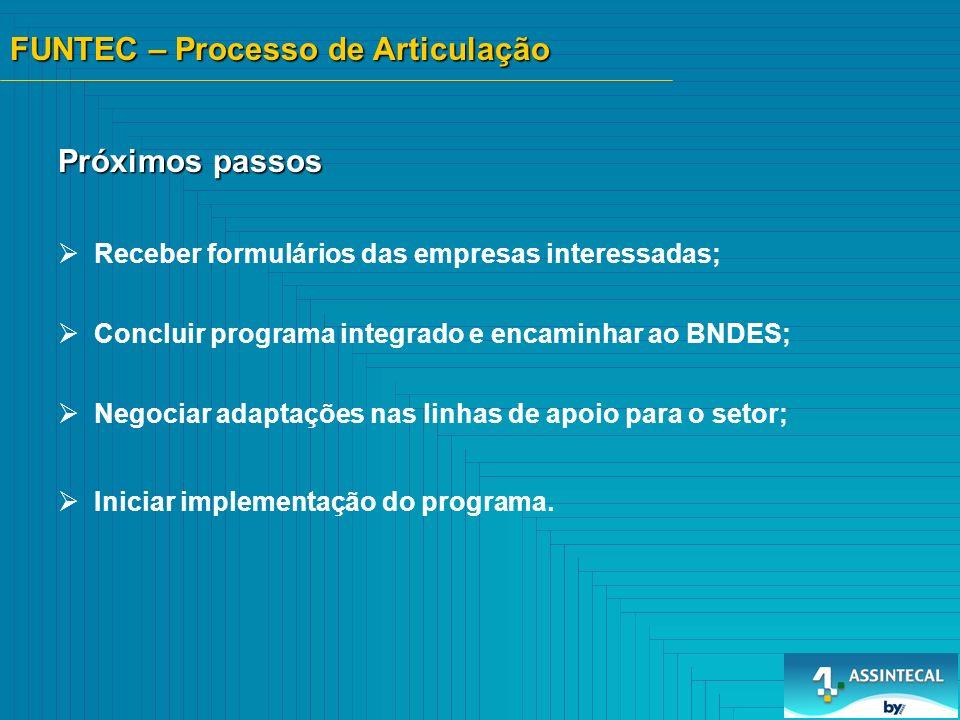 Receber formulários das empresas interessadas; Concluir programa integrado e encaminhar ao BNDES; Negociar adaptações nas linhas de apoio para o setor; Iniciar implementação do programa.