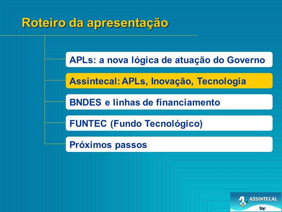 600 700 0 100 200 300 400 500 Nº empresas Distribuição Empresas de Componentes RS SP SC RJ MG CE OUTROS Assintecal e APLs