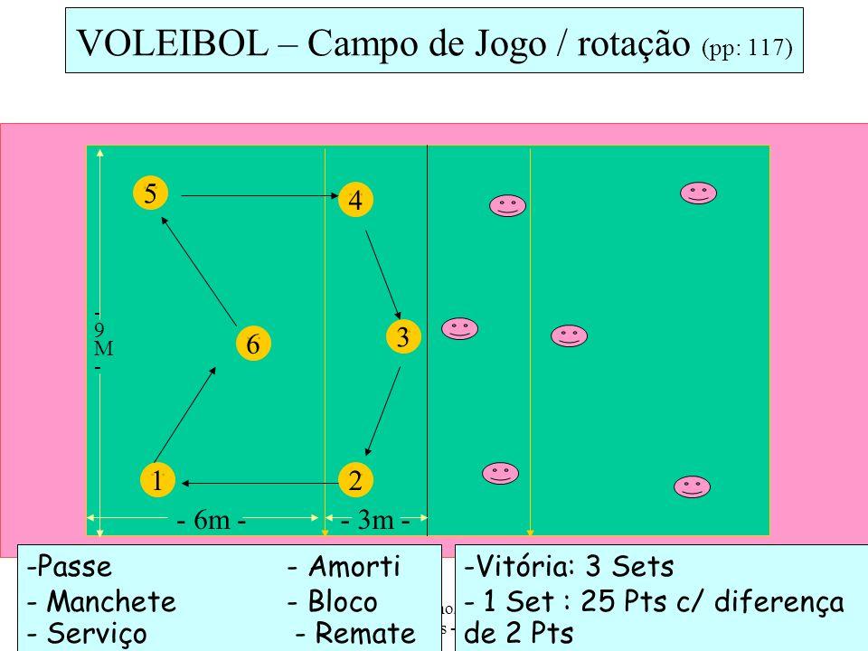 ESSM - 10ª Ano/ Prática de Actividades Físicas - AFL, 2008/09 10 -Passe - Amorti - Manchete- Bloco - Serviço - Remate 5 VOLEIBOL – Campo de Jogo / rot