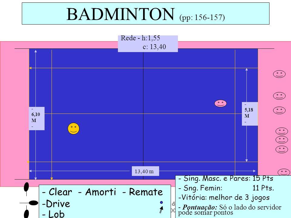 ESSM - 10ª Ano/ Prática de Actividades Físicas - AFL, 2008/09 14 - Clear - Amorti - Remate -Drive - Lob BADMINTON (pp: 156-157) - Sing. Masc. e Pares: