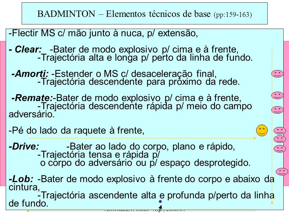 ESSM - 10ª Ano/ Prática de Actividades Físicas - AFL, 2008/09 15 -Flectir MS c/ mão junto à nuca, p/ extensão, - Clear: -Bater de modo explosivo p/ ci