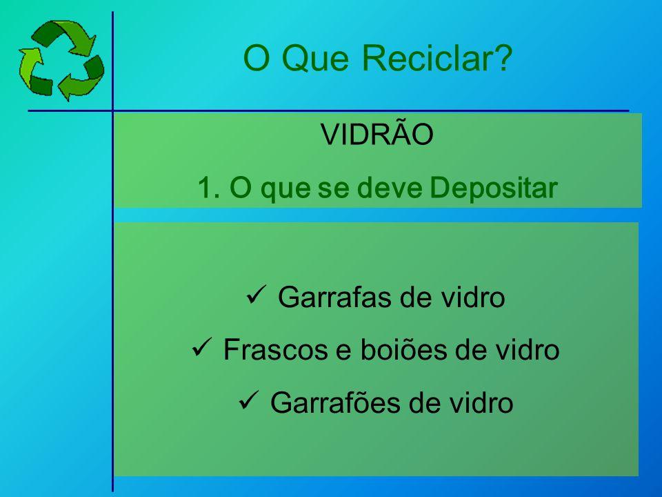 Garrafas de vidro Frascos e boiões de vidro Garrafões de vidro VIDRÃO 1.O que se deve Depositar O Que Reciclar?