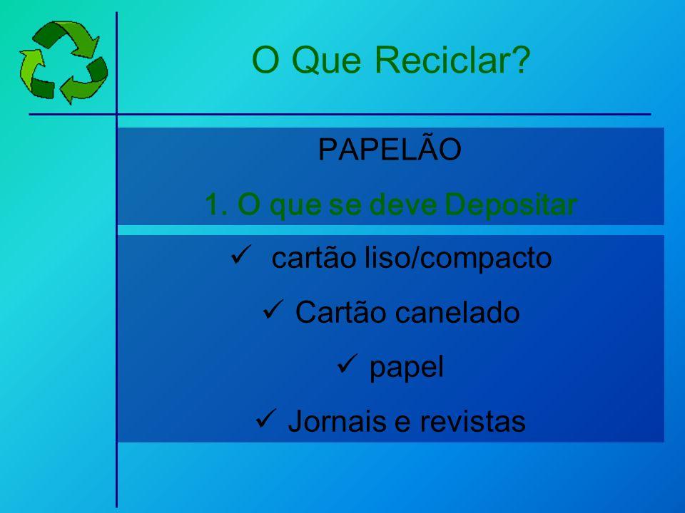 cartão liso/compacto Cartão canelado papel Jornais e revistas PAPELÃO 1.O que se deve Depositar O Que Reciclar?