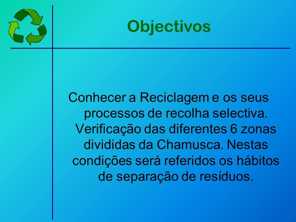 Objectivos Conhecer a Reciclagem e os seus processos de recolha selectiva. Verificação das diferentes 6 zonas divididas da Chamusca. Nestas condições