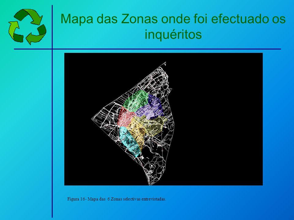 Mapa das Zonas onde foi efectuado os inquéritos Figura 16- Mapa das 6 Zonas selectivas entrevistadas.
